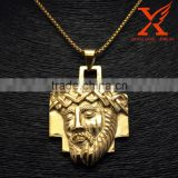 18K Gold Stainless Steel chakra Jewellery Big Weight Jesus Face Head Cross Pendant