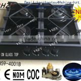 4 Burner Black Glass Cooktop 4 burner Gas range, gas hob ,gas cooker,Cast iron gas Stoves