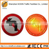 LED flashing solar panel road hazard warning light