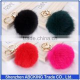 Hot selling New 8CM Length Rabbit Fur Ball Cell Phone Car Keychain Pendant Handbag Charm Key Chain PomPom Charm Keyring