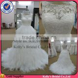 new arrival see-through lace boat neck ruffle wedding dress with long tail
