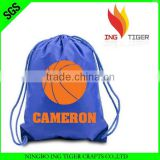 2016 Eco Friendly Customized Logo Branded Promotional Cheap 210T Nylon Drawstring Basketball Sport Bag With Shoe Compartment