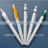 White Barrel Promotion Plastic Ball Pen / colorful click plastic ball pen / Business advertising promotion ball pen