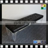 Acrylic lucite legs bench with cushion high quality PMMA shopping mall bench from shenzhen yidong