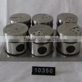 6 pieces mat shinning stainless steel coated empty spice jars with stand