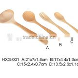 Kitchen Cooking Utensils Wood Spoon and Spatula, 4 Set of Bamboo Kitchen Tools