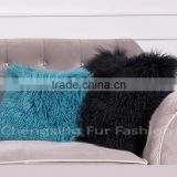 CX-D-04N Wholesale High Quality Best Selling Comfortable Lamb Fur Pillow Genuine Mongolian Sheep Fur Pillows