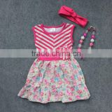 girls summer dress 2-7t available baby kids hot pink flower high low dress with matching headband and necklace set