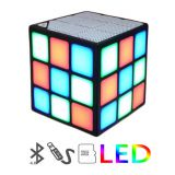 Mini Magic Cube Colorful Wireless Portable Bluetooth Speaker LED Flash Light with TF Card Handsfree