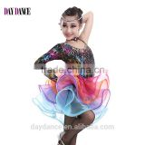 Girls Salsa Latin Performance Dresses Child Unequal Dance Dress Kids Fluorescent Rainbow Colored Ballroom Dresses