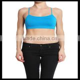 Seamless Cross Strap Back SPORTS BRA TANK TOP Stretch Bandeau Cami blue color