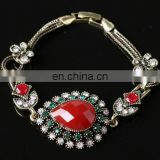 Women Fashion Retro Style Vintage Gemstone Crystal Imitation Rhinestone Resin Bracelet Bangles For Gift