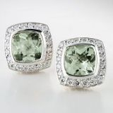 925 Sterling Silver 7mm Square Prasiolite Petite Earrings