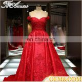 a line red beaded crystal Latest Designs Off Shoulder Ball Gown Rose Red Wedding Dress 2017