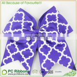 Popular quatrefoil Printed purple grosgrain Cheer Bow For Girls
