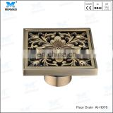 Flowers classic style Antique Brass Carved Flower Art Bathroom Accessory Floor Drain Waste Grate 100mmx100mm