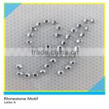 Hot Fix Rhinestone Motif Customize Size Glass Crystal Letter A Design For T-Shirt