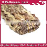 100% Human hair extension mixed colored brown/blonde body wave blonde clip ons
