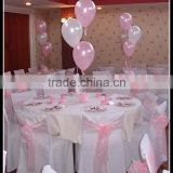 factory wholesale for romantic wedding banquet chair use polyester white chair cover with light pink organza sashes