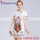 Eleglant women flower printed white silk dress made in China with raw silk
