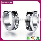 China Wholesale Market Stainless Steel Mens Silver Huggie Earrings