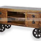 VINTAGE INDIA RUSTIC FOUR DRAWERS TWO SELVES INDUSTRIAL COFFEE TABLE ON WHEELS CART