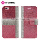 IVYNAX2016 New design magnet wallet leather case bling diamond for iPhone 6s mobile phone accessories                                                                                                         Supplier's Choice