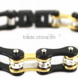 YM069 gold and black color ladies bike chain motorcycle bracelets stainless steel ladies bike jewelry