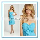 Knee-Length Strapless Sweetheart Neckline Ruffled Chiffon Sky Blue Bridesmaid Dresses( BDAL-4026)
