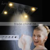 Luxury bathroom bath accessories LED ceiling shower waterfall curtains square rainfall SPA shower head set mixer faucet bathroom