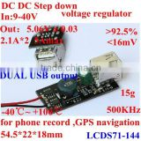12v to 5v usb charger pcb board wide range input 9-40v to 5v 2.1A * 2 dual USB output 5A max for cellphone ,car,truck , PDA etc