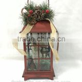 Newest antique red metal and glass Christmas lantern with LED light