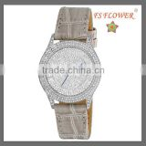Beige Genuine Leather Strap FS FLOWER Brands Quartz Watch For Ladies Nice Gift Items Christmas Gift