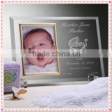 Customized Glass Baby Photo Frame For Baby Birth Souvenir