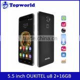 Cheap unlocked 4g cell phone 5.5 inch quad core OUKITEL U8 Fingerprint Identification Android 5.1 smart phone 2+16GB