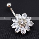 Fashion Rhinestone Dangle Button Barbell Belly Navel Ring Bar fake belly button rings