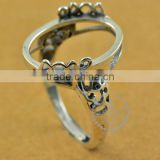 14*18mm 925 sterling silver antiqued silver vintage style oval bezel ring base blank supplies DIY findings 1223075