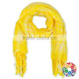 Wholesale ladies muslim products bright yellow tassels hijab scarf fashion lady fringe scarf