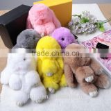 13-18cmRabbit Fur Doll Handmade Bunny key chain for Handbag or Car Pendant key ring Pom Pom Keychain