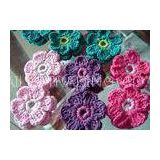 Colorful Crochet Accessories , 6 Petals Knitted Crochet Flower Appliques