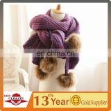 Acrylic Winter Knitted Scarf with Fur Pompons