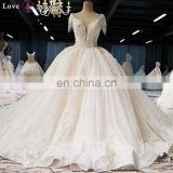 LS00380 cap sleeves plus size elegant high quality lace quinceanera ball gown wedding dress