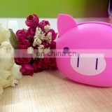 Popular zipper PINK PIG design rubber silicone cion wallet key purse headset package for kids'gift children gift