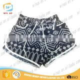 Black and white striped Women 100 polyester shorts swim trunks