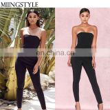 OEM women clothing spring bodycon off shoulder bandage sexy fashion custom ladies jumpsuit