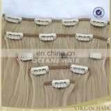 full head thick wholesale indian remy clip in hair extensions 220grams for white women
