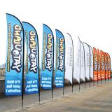 Free Design Custom Advertising Feather Flying Windchasers Flags With Ground Spike