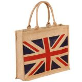 Jute tote bag with zipper
