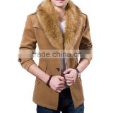 wool coat with fur/wool coat with fur lining/men's wool coats with fur/slim fitted men's wool coats