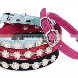 Yak wool leather pet collar handmade pearl diamond dog collar